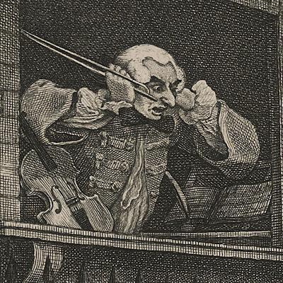 Hogarth's The Enraged Musician (detail)