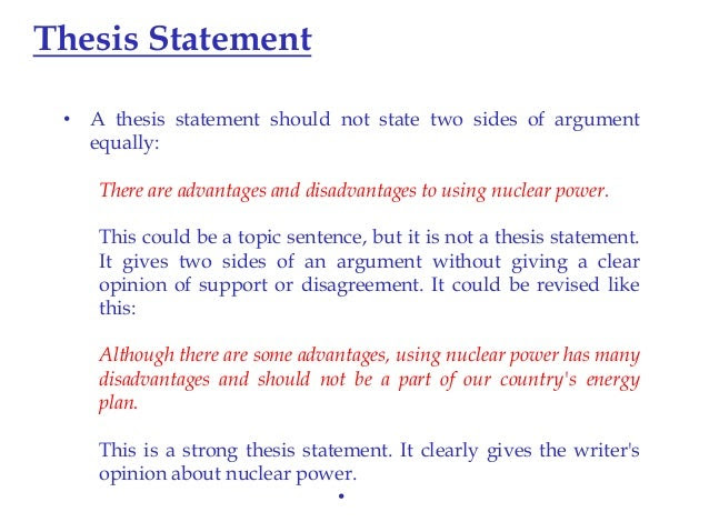 examples of thesis statements with topic sentences