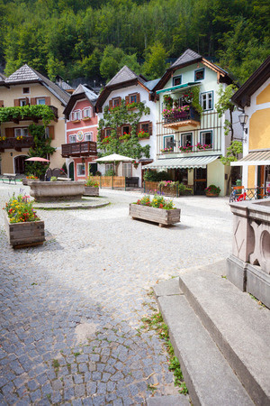 Public Water Fountain With Colorful Houses Village Marketplace ...