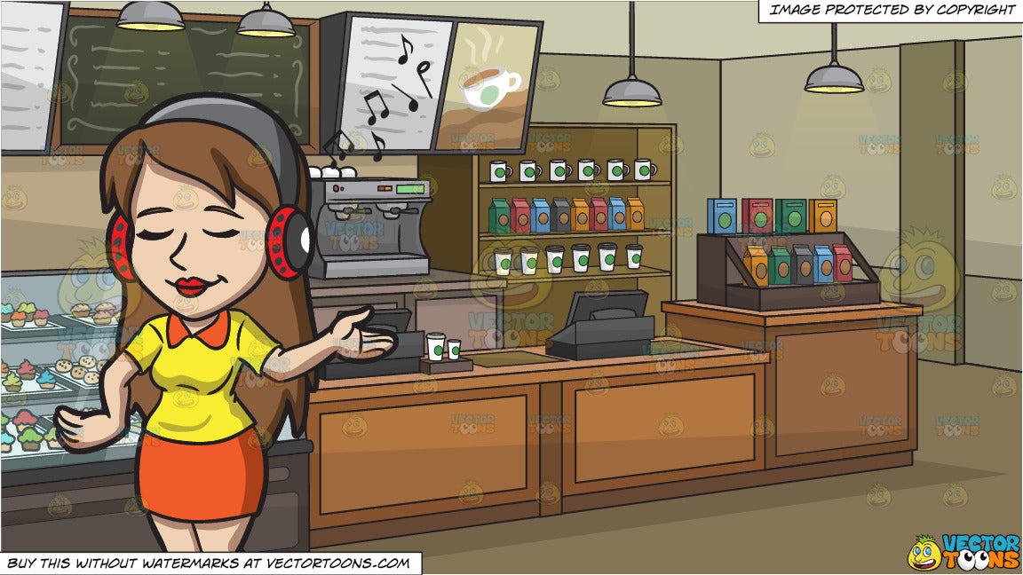 A Woman Savoring Her Music Playlist And The Interior Of A Coffee Shop Clipart Cartoons By Vectortoons