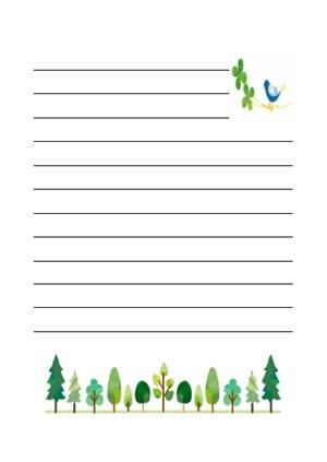 並んだ木と鳥の便箋のテンプレート 印刷して使える可愛い便箋だけ