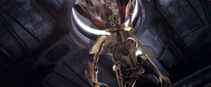 General Grievous moments before escapes the Invisible Hand via a pod.