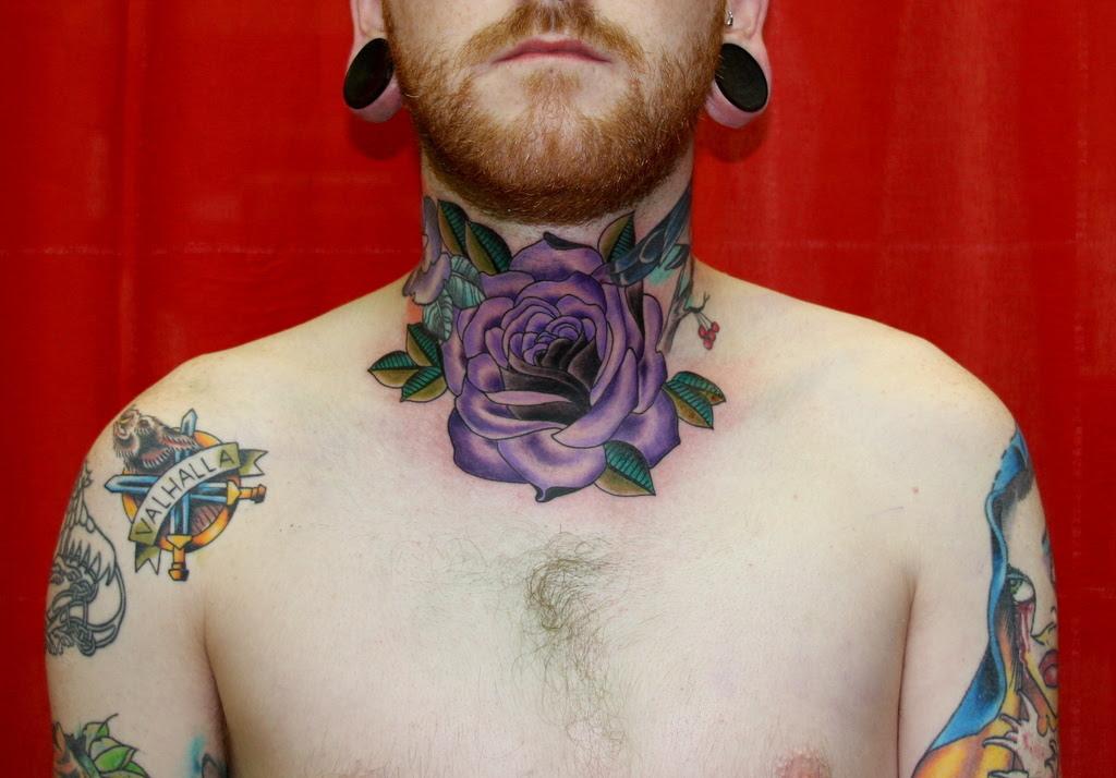 Purple Ink Rose Flower Tattoo On Neck