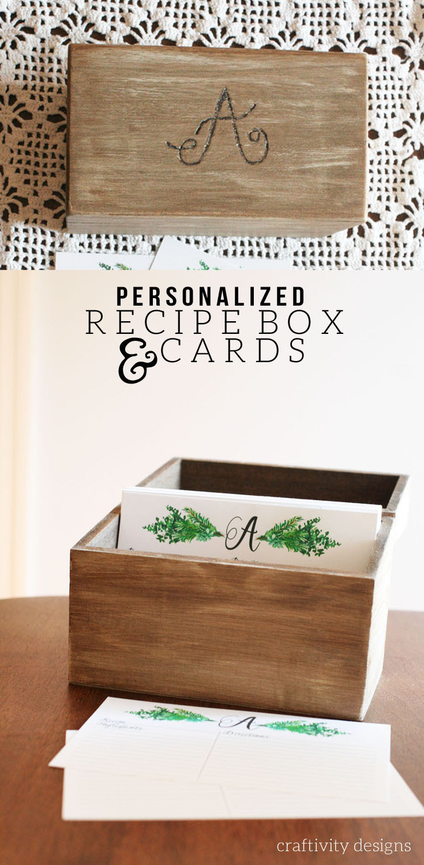 Personalized Recipe Box + Recipe Cards - Craftivity Designs