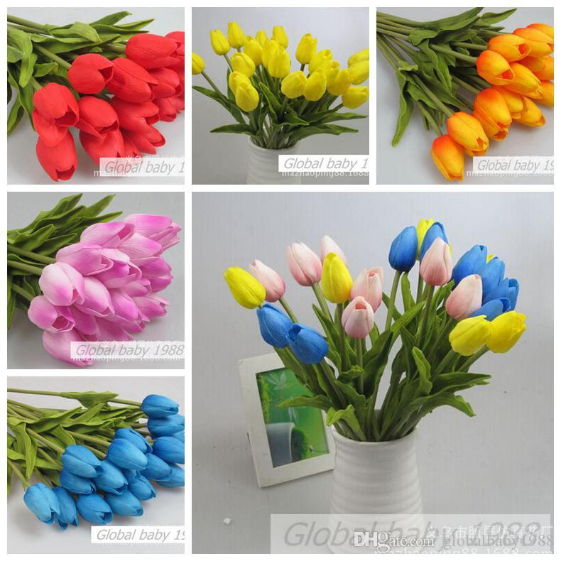 2017 Cheap Price Artificial Flowers Pu Tulip Home Flowers For Wedding Decoration Bouquets