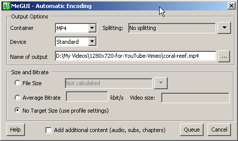 MeGUI automatic encoding