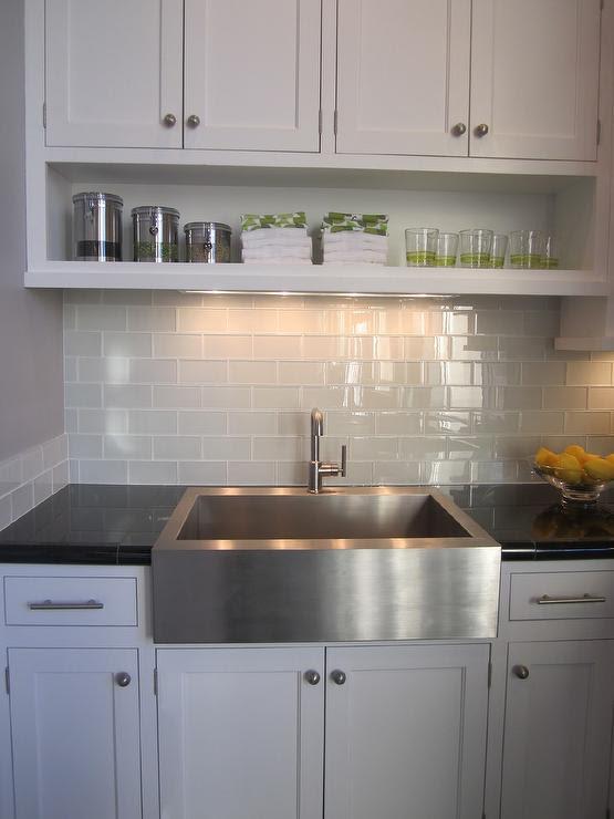 Gray Subway Tile - Transitional - kitchen