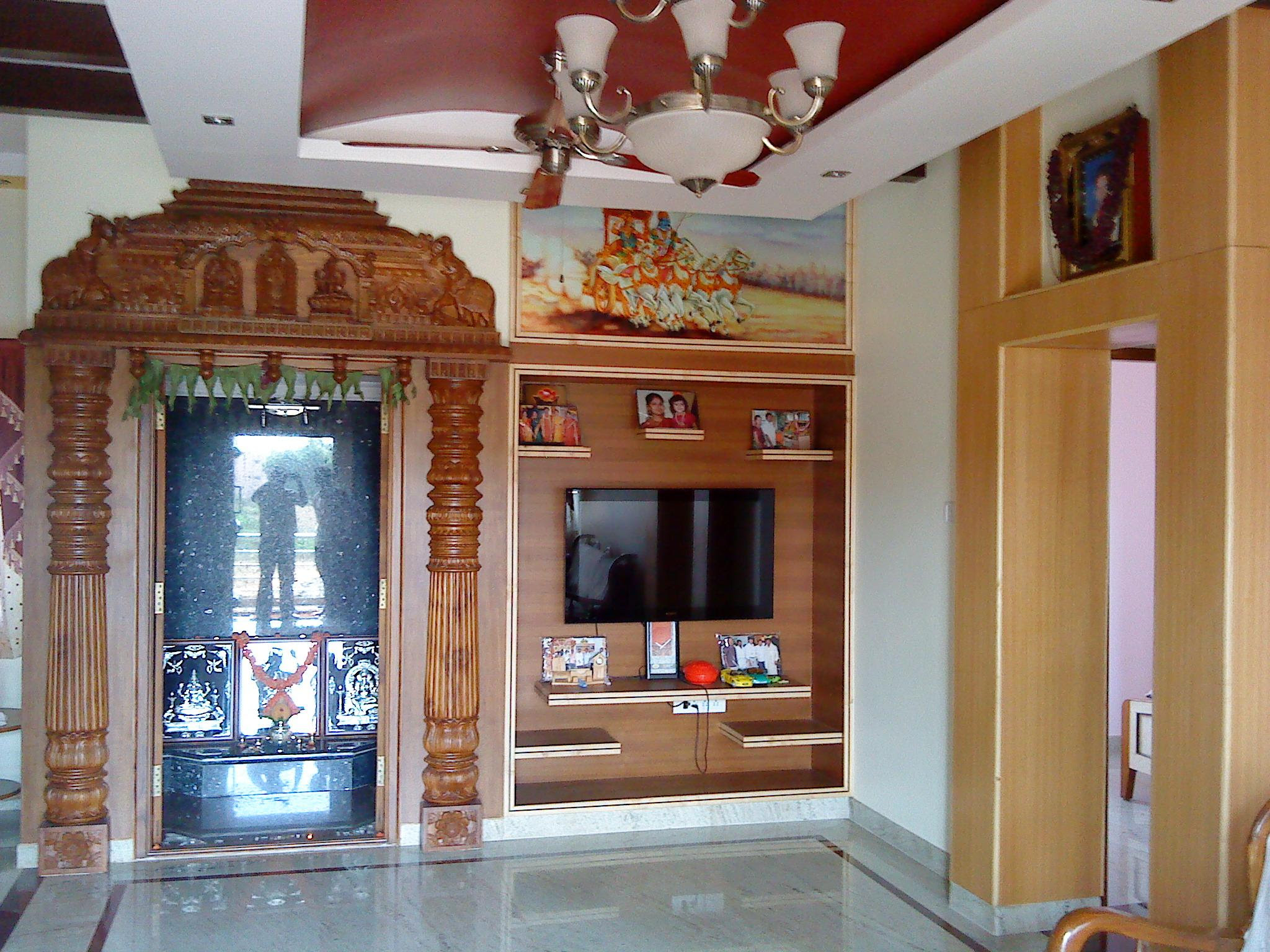 Puja Room With Tv Cabinet Gharexpert