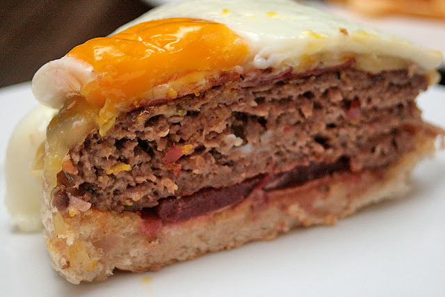 Cross-section of beef burger