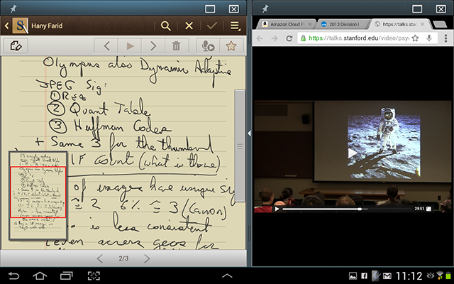 Galaxy Note 10.1 screenshot demonstrating note taking and dual application UI