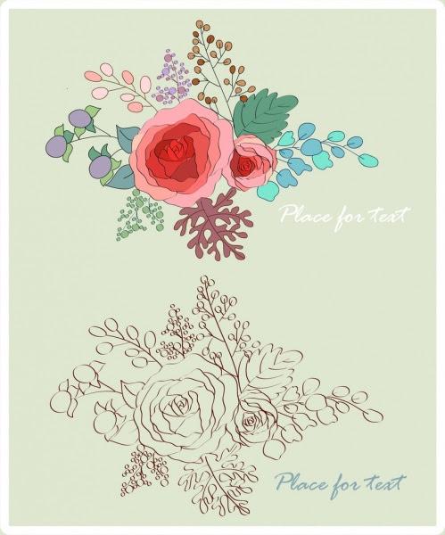 Bunga Mawar Sketsa Desain Warna Warni Vektor Bunga Vektor Gratis