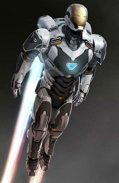 An illustration depicting the Gemini Mark 39 Deep Space Armor from IRON MAN 3.