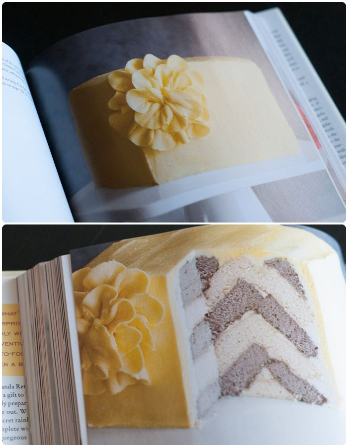 chevron cake from Surprise-Inside Cakes: book review & giveaway
