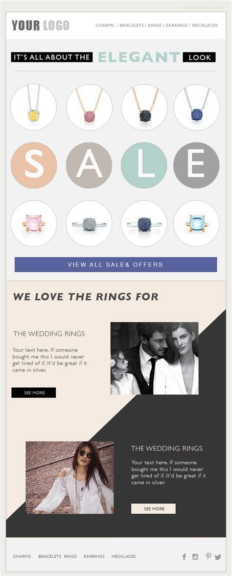 email marketing, eblast template, email template, fashion