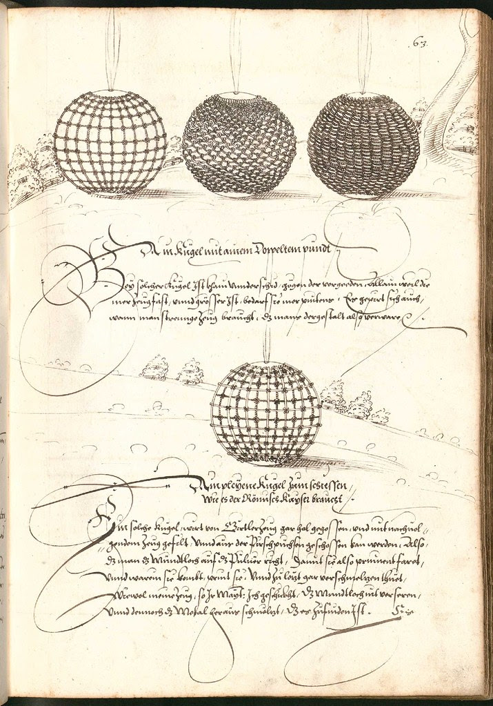 Early Modern manuscript warfare drawing -  Artilleriebuch 1582 BSB c