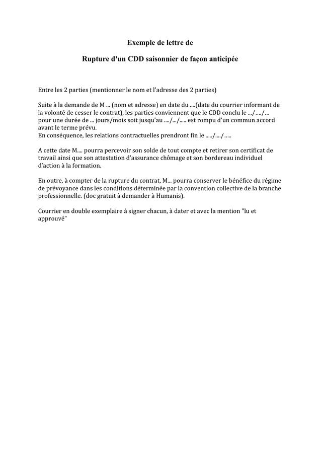 Exemples De Modèles Lettre De Rupture De Contrat Cdd