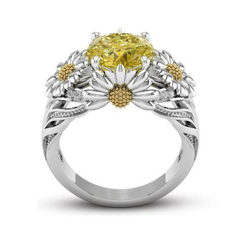 925 Silver Fashion 3.5ct Citrine Daisy Women Jewelry