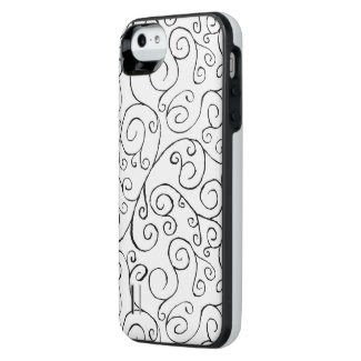 Black on White Hand-Painted Curvy Pattern iPhone SE/5/5S Battery Case
