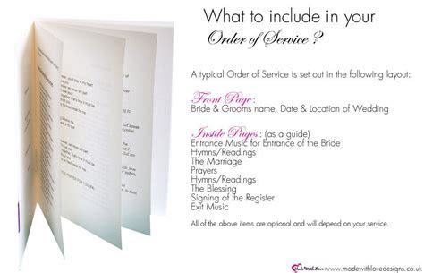 Order of Service Wording   What to Include   Weddings