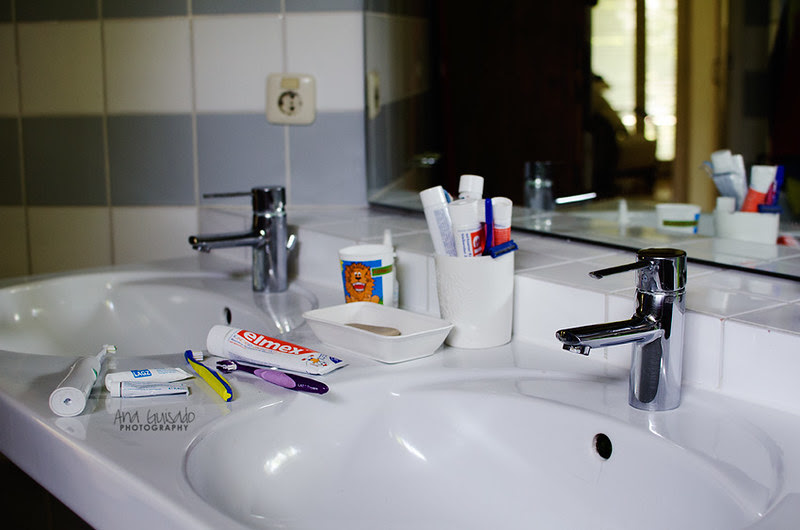 Kids were here: washing our teeth