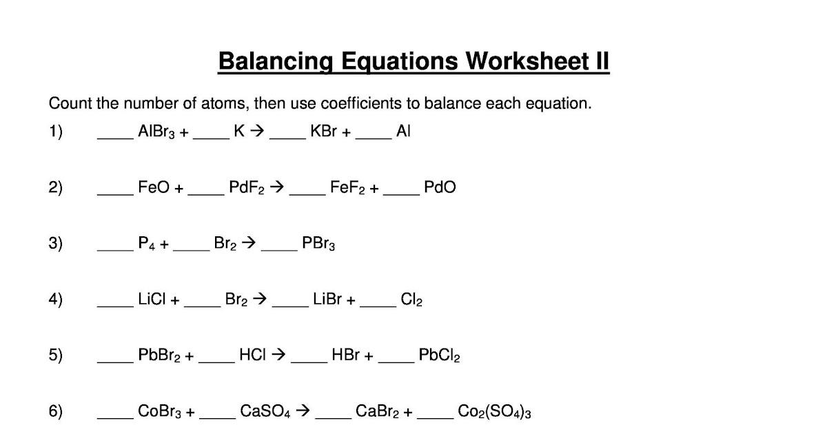 34 Balancing Equations Practice Worksheet Answers - Ekerekizul