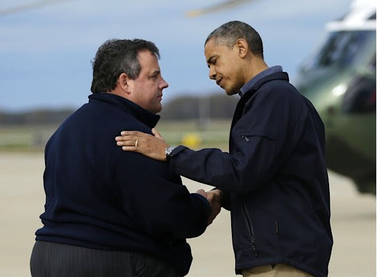 President Barack Obama is greeted by New Jersey Gov. Chris Christie upon his arrival at Atlantic City International Airport, Wednesday, Oct. 31, 2012, in Atlantic City, NJ. Obama traveled to region to take an aerial tour of the Atlantic Coast in New Jersey in areas damaged by superstorm Sandy,  (AP Photo/Pablo Martinez Monsivais)