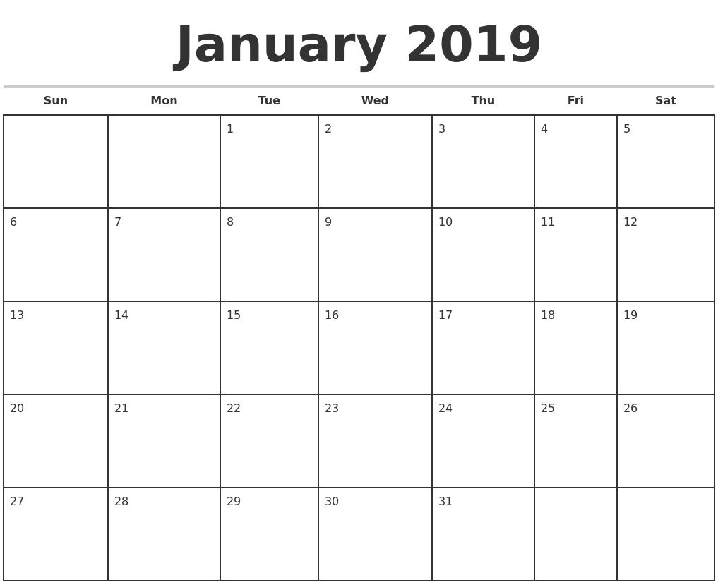 january 2019 monthly calendar template