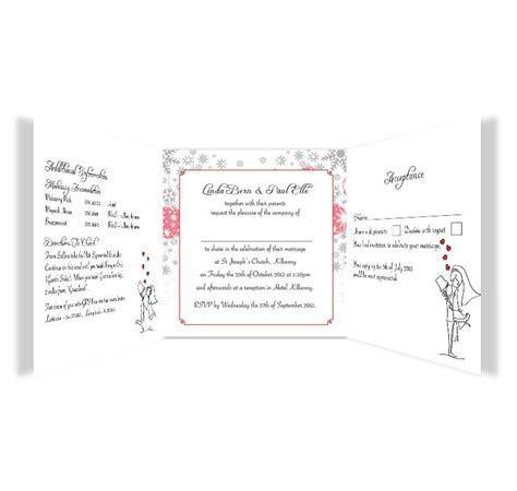 Christmas Stick couple Tri fold wedding invite & rsvp