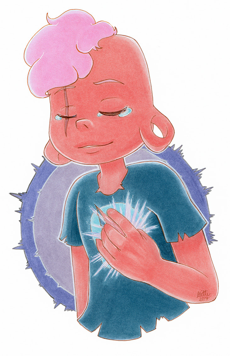 I wanted to draw him as soft as possible. One of my fav characters from the beginning and I still love him so much :') (can someone tell me the best way to say pink colors when scanning, red and pinks...