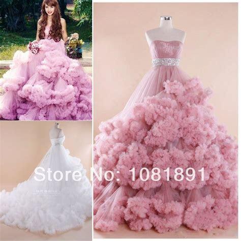 pink princess ball gown pink wedding dress ruffle wedding
