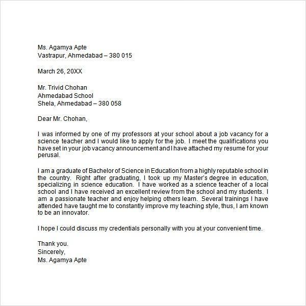 sample application letter format doc