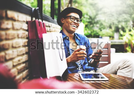 Shopping Men Man Happiness Consumer  Commerce Concept - stock photo