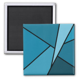 Abstract Teal Polygons Fridge Magnets