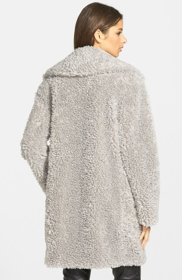 Le Fashion Blog Kensie Textured Grey Teddy Bear Faux Fur Coat Fall Winter Style 2015 Under 200 Budget Friendly