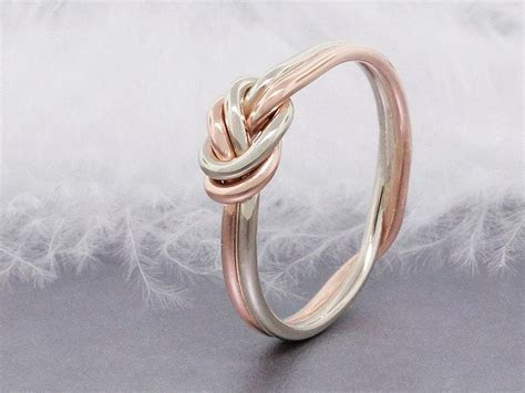 14k Solid Rose Gold Love Knot Ring, Double Strand Nautical