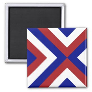 Red, White, and Blue Chevrons Fridge Magnets