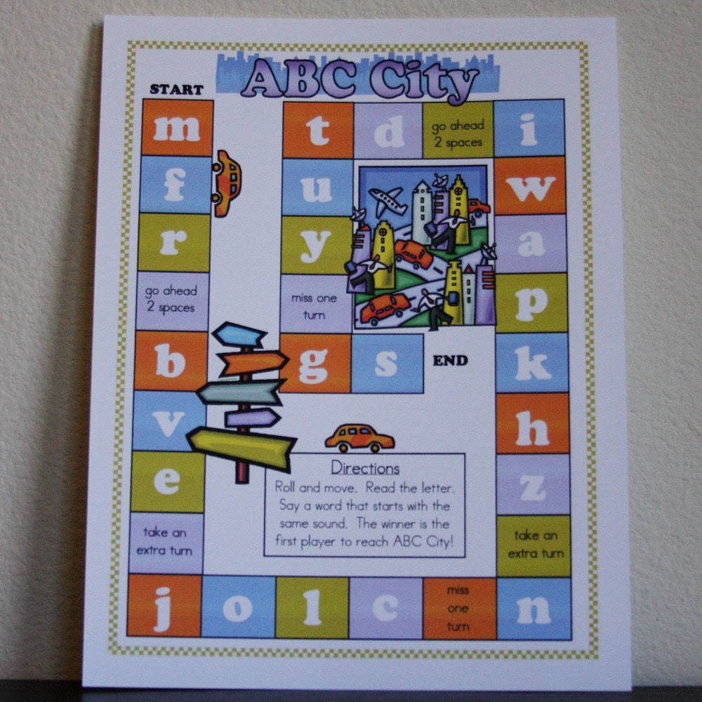 ABC City Printable Alphabet Game by HeartsforHaiti on Etsy