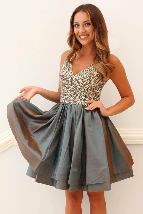colors rhinestone beaded shinny homecoming dressesshort
