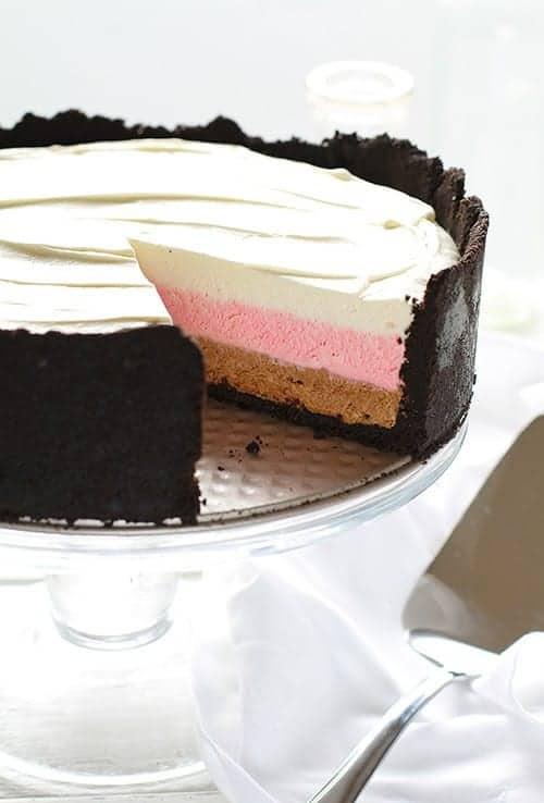 Neapolitan Cheesecake!  Vanilla, strawberry and chocolate no-bake cheesecake!