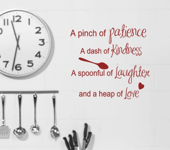 Kitchen Wall decals Recipe quote Pinch of by HouseHoldWords