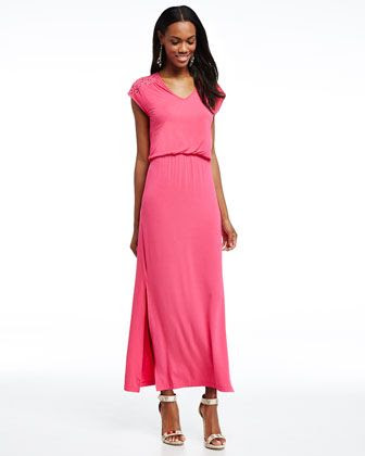 Neiman Marcus Lace Yoke Maxi Dress