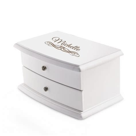Personalized 2 Compartment Elegant White Jewelry Box with