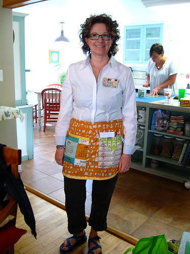 Penny in her teacher apron