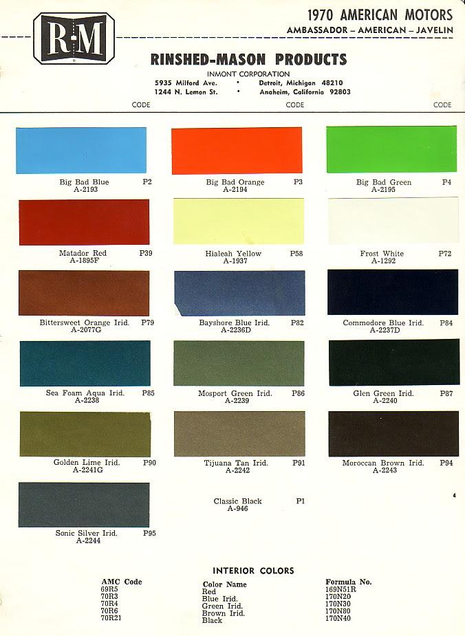 Black Car Paint Colors Chart