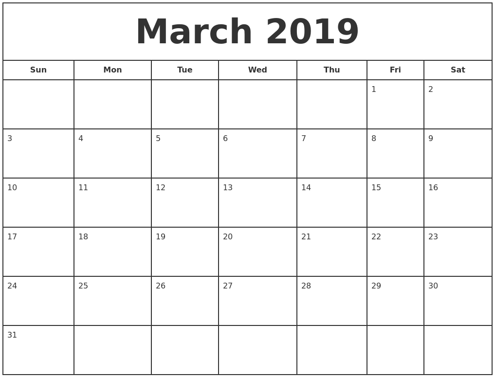 march 2019 print free calendar