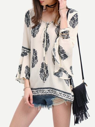 Black White Print Bell Sleeve Lace Up Dress pictures
