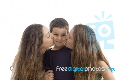 Girls Kissing Young Little Boy Stock Photo Royalty Free Image Id