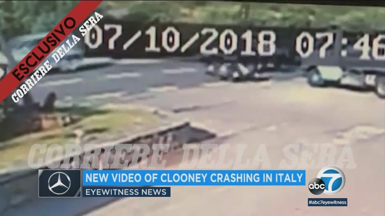 Video shows moment of Clooney motorcycle crash; actor thrown in air