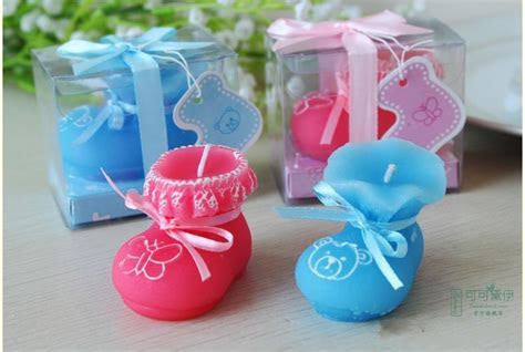 2015 New Baby Shower Favor Pink & Blue Baby Shoes Candle