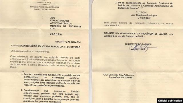 Carta do Governador de Luanda indeferindo pedido de Manifestação de Jovens a 11 de Outubro.  Angola 2014